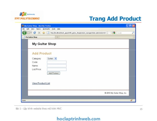 Trang Add Product Bài 1 - Lập trình website theo mô hình MVC 15