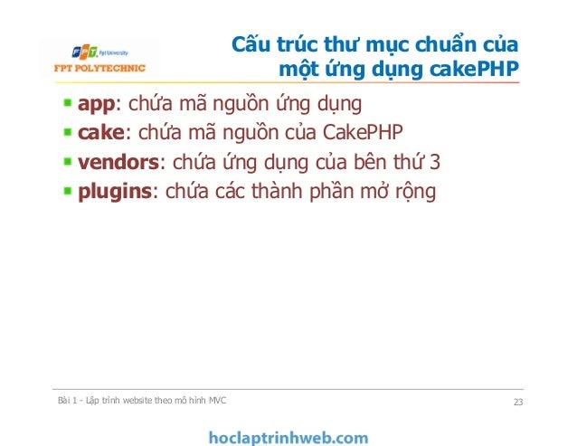 app: chứa mã nguồn ứng dụng cake: chứa mã nguồn của CakePHP vendors: chứa ứng dụng của bên thứ 3 plugins: chứa các thành p...