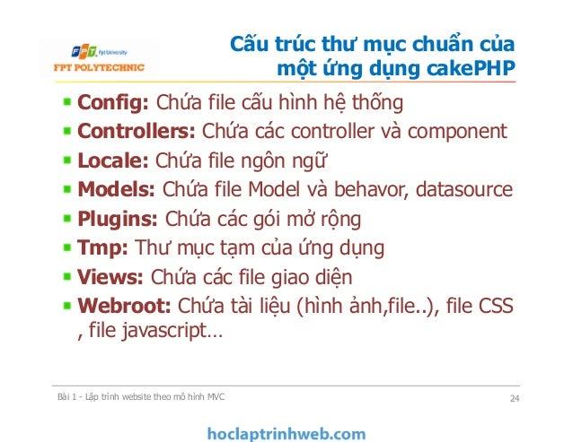 Config: Chứa file cấu hình hệ thống Controllers: Chứa các controller và component Locale: Chứa file ngôn ngữ Models: Chứa ...
