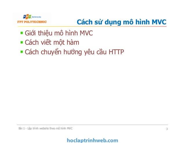 Bài 1 Lập trình website theo mô hình MVC - Xây dựng ứng dụng web Slide 3