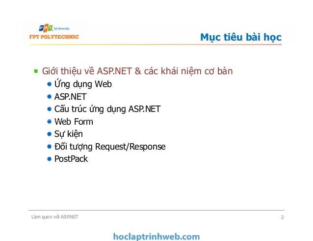 Giới thiệu về ASP.NET & các khái niệm cơ bản Ứng dụng Web ASP.NET Cấu trúc ứng dụng ASP.NET Web Form Sự kiện Đối tượng Req...