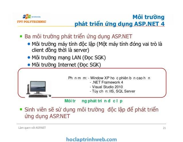 Ba môi trường phát triển ứng dụng ASP.NET Môi trường máy tính độc lập (Một máy tính đóng vai trò là client đồng thời là se...