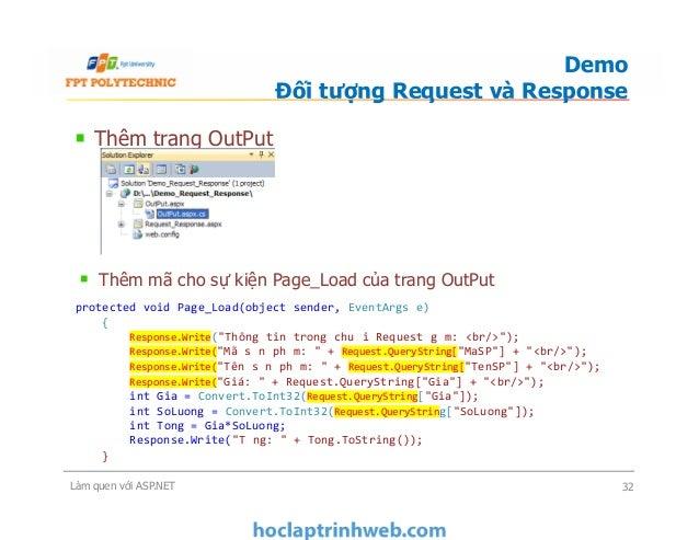 Thêm trang OutPut Demo Đối tượng Request và Response Thêm mã cho sự kiện Page_Load của trang OutPut Làm quen với ASP.NET 3...