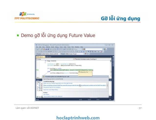 Demo gỡ lỗi ứng dụng Future Value Gỡ lỗi ứng dụng Làm quen với ASP.NET 37