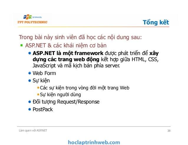 Trong bài này sinh viên đã học các nội dung sau: ASP.NET & các khái niệm cơ bản ASP.NET là một framework được phát triển đ...