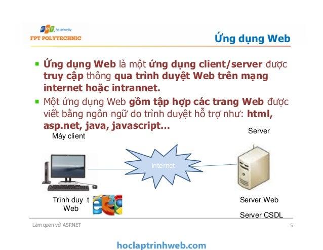 Ứng dụng Web là một ứng dụng client/server được truy cập thông qua trình duyệt Web trên mạng internet hoặc intrannet. Một ...