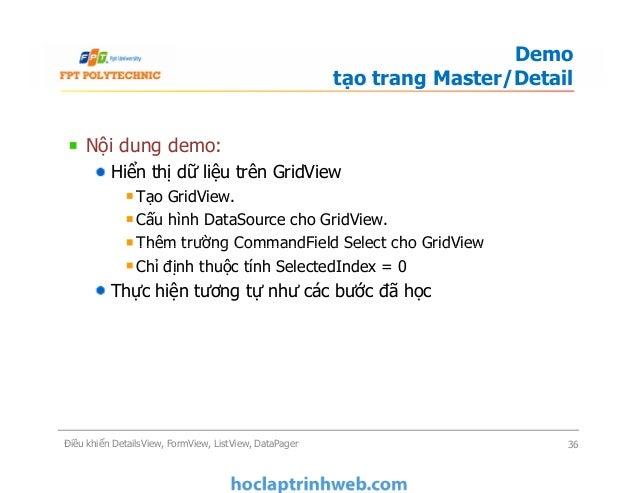 Bài 6: Điều khiển DetailsView, FormView, ListView, DataPager