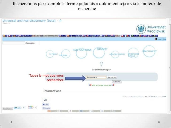 Recherchons par exemple le terme polonais « dokumentacja » via le moteur de                                recherche      ...