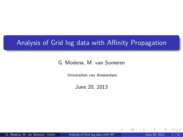 Analysis of Grid log data with Affinity Propagation G. Modena, M. van Someren Universiteit van Amsterdam June 20, 2013 G. Mo...