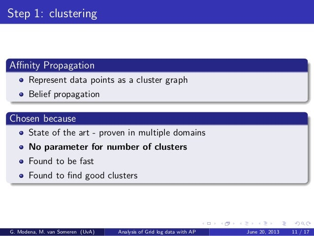 Step 1: clustering Affinity Propagation Represent data points as a cluster graph Belief propagation Chosen because State of ...