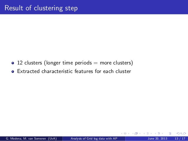 Result of clustering step 12 clusters (longer time periods = more clusters) Extracted characteristic features for each clu...
