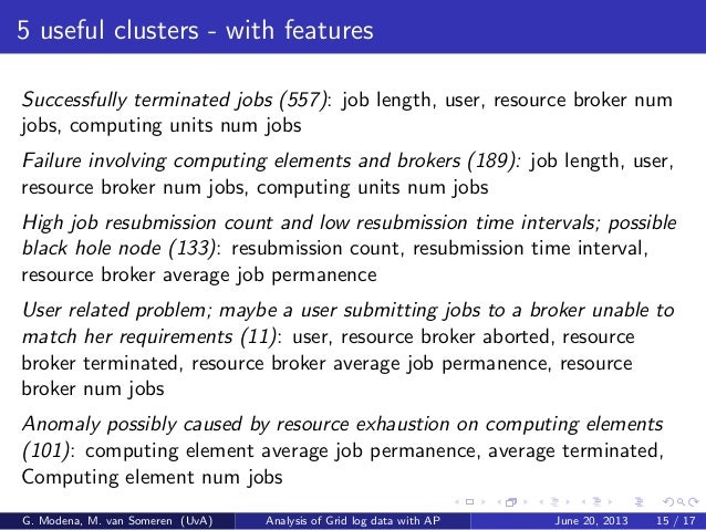 5 useful clusters - with features Successfully terminated jobs (557): job length, user, resource broker num jobs, computin...