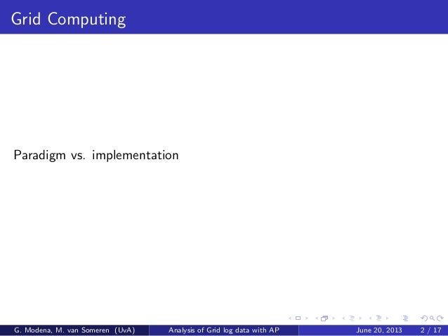 Grid Computing Paradigm vs. implementation G. Modena, M. van Someren (UvA) Analysis of Grid log data with AP June 20, 2013...