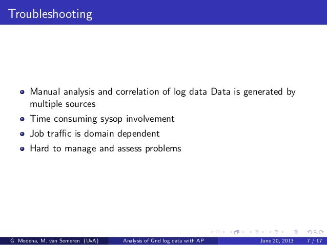 Troubleshooting Manual analysis and correlation of log data Data is generated by multiple sources Time consuming sysop inv...