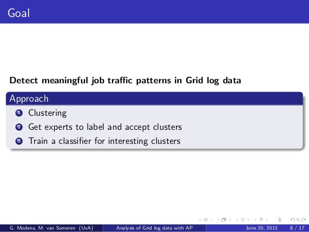 Goal Detect meaningful job traffic patterns in Grid log data Approach 1 Clustering 2 Get experts to label and accept cluster...