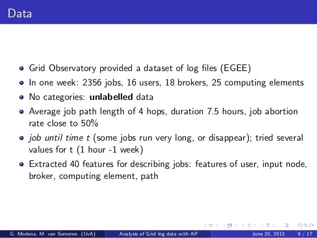 Data Grid Observatory provided a dataset of log files (EGEE) In one week: 2356 jobs, 16 users, 18 brokers, 25 computing ele...