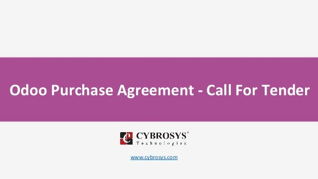 Odoo Purchase Agreement - Call For Tender www.cybrosys.com