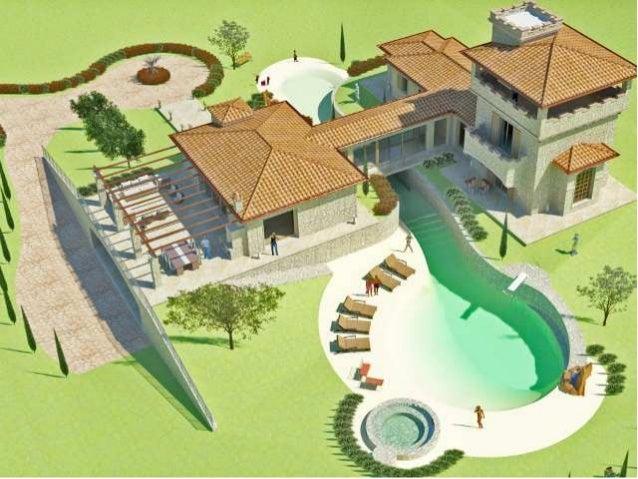 Progetto di una villa di pregio con piscina bio for Disegni di case di tronchi