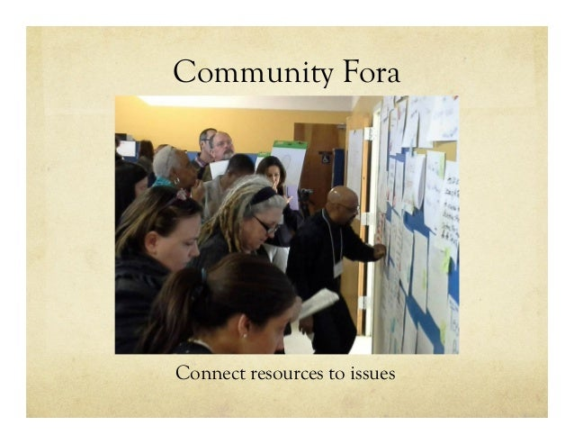 Community Fora Connect resources to issues