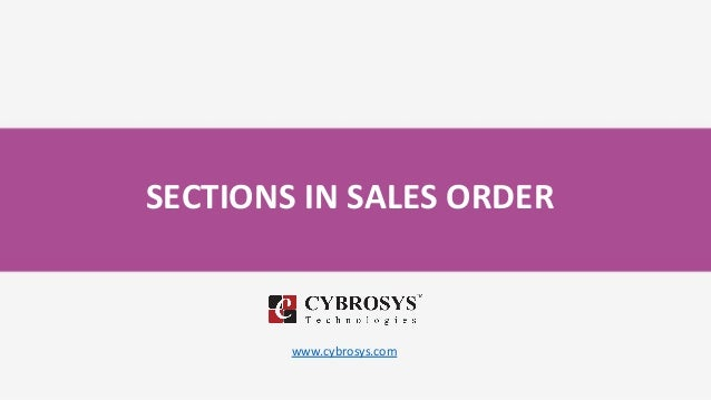 SECTIONS IN SALES ORDER www.cybrosys.com