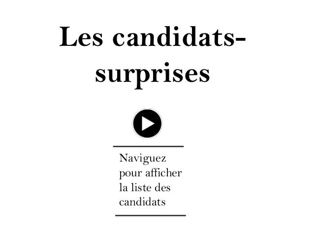 Les candidatssurprises Naviguez pour afficher la liste des candidats