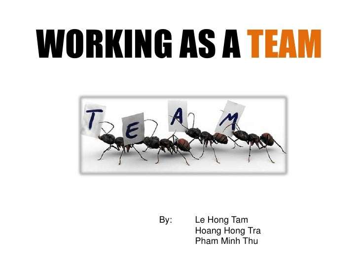 WORKING AS A TEAM<br />By: Le Hong Tam<br /> Hoang Hong Tra<br />Pham Minh Thu<br />