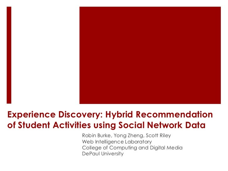 Experience Discovery: Hybrid Recommendationof Student Activities using Social Network Data                 Robin Burke, Yo...