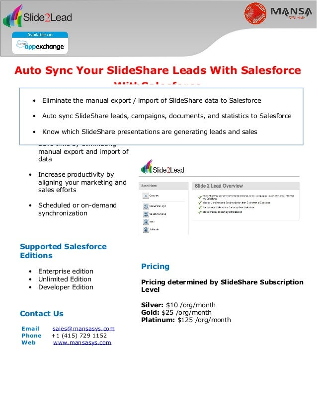 Sign up for a FREE Trail at www.mansasys.com/slide2lead Pricing Pricing determined by SlideShare Subscription Level Silver...