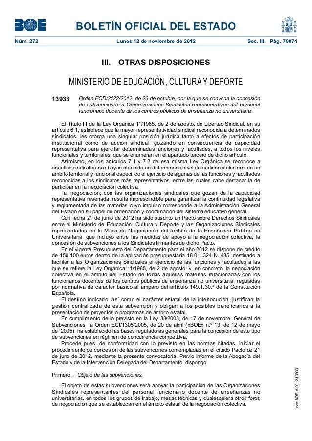 BOLETÍN OFICIAL DEL ESTADONúm. 272                                Lunes 12 de noviembre de 2012                         ...