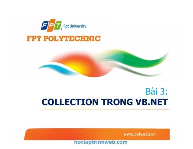 Bài 3: COLLECTION TRONG VB.NET