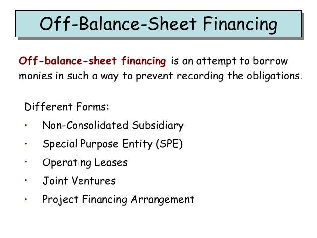 Off Balance Sheet Financing Off Balance Sheet FinancingOff Balance Sheet ...  Balance Sheet Forms