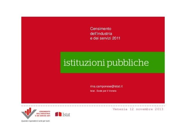 Censimento Censimento dell'industria dell'industria e dei servizi 2011 e dei servizi 2011  Principali innovazioni Il Censi...