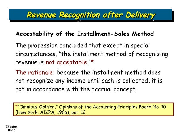 methods of revenue recognition Three alternative revenue recognition methods are available when the seller is ex-posed to continued risks of ownership through return of the product.