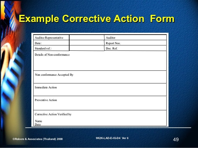 49 Example Corrective Action Form