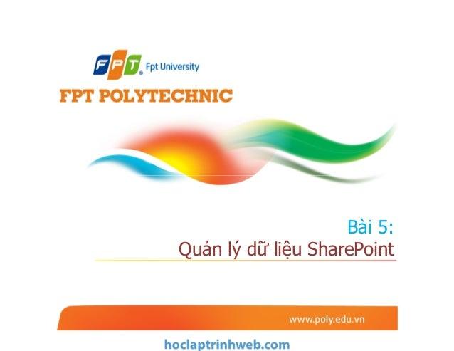 Bài 5: Quản lý dữ liệu SharePoint