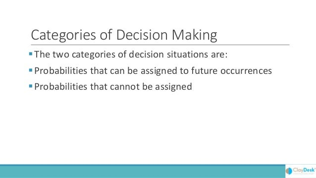 Decision Making Without Probabilities Slide 3
