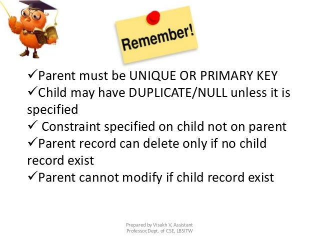 Prepared by Visakh V, Assistant Professor,Dept. of CSE, LBSITW Parent must be UNIQUE OR PRIMARY KEY Child may have DUPLI...