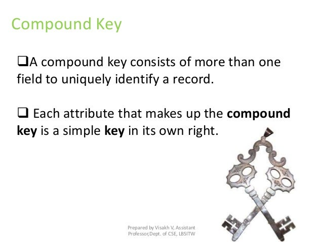 Prepared by Visakh V, Assistant Professor,Dept. of CSE, LBSITW Compound Key A compound key consists of more than one fiel...