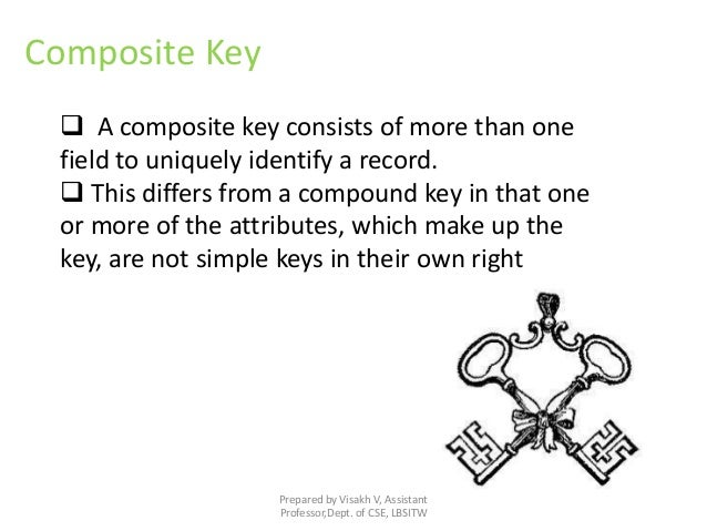 Prepared by Visakh V, Assistant Professor,Dept. of CSE, LBSITW Composite Key  A composite key consists of more than one f...