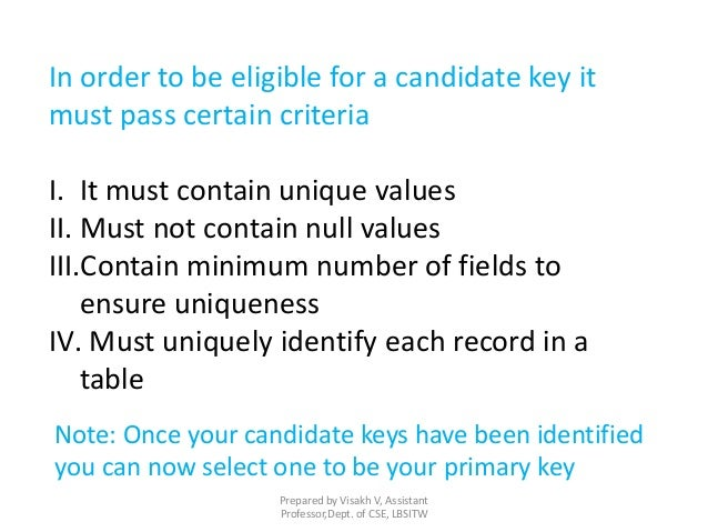 In order to be eligible for a candidate key it must pass certain criteria I. It must contain unique values II. Must not co...