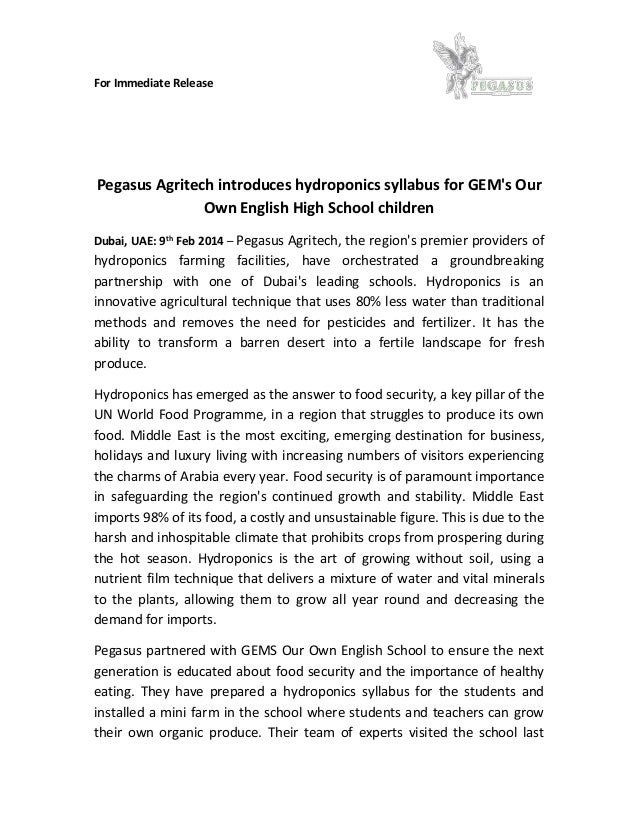 For Immediate Release Pegasus Agritech introduces hydroponics syllabus for GEM's Our Own English High School children Duba...