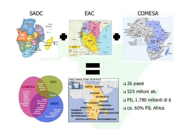 SADC   EAC        COMESA             26 paesi             525 milioni ab.             PIL 1.780 miliardi di $             ...