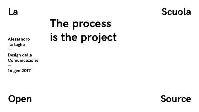 La �cuola Open �ource Alessandro Tartaglia — Design della Comunicazione — 16 gen 2017 The process is the project