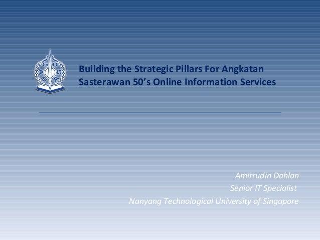 Amirrudin Dahlan Senior IT Specialist Nanyang Technological University of Singapore Building the Strategic Pillars For Ang...