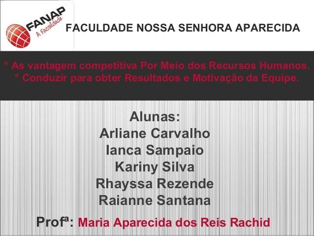 FACULDADE NOSSA SENHORA APARECIDA Alunas: Arliane Carvalho Ianca Sampaio Kariny Silva Rhayssa Rezende Raianne Santana Prof...