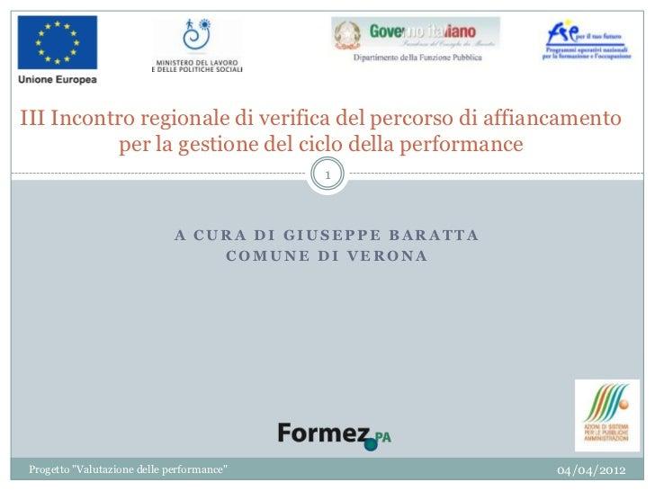 III Incontro regionale di verifica del percorso di affiancamento           per la gestione del ciclo della performance    ...