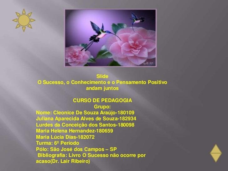 SlideO Sucesso, o Conhecimento e o Pensamento Positivo                  andam juntos                 CURSO DE PEDAGOGIA   ...