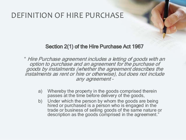 Hire Purchase Act (Business Law)