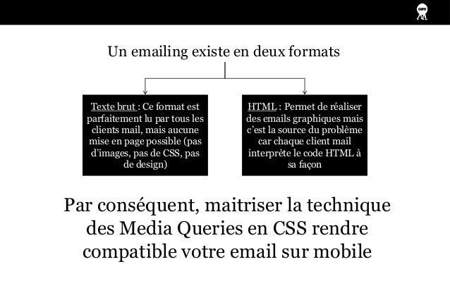 Un emailing existe en deux formats   Texte brut : Ce format est    HTML : Permet de réaliser  parfaitement lu par tous les...