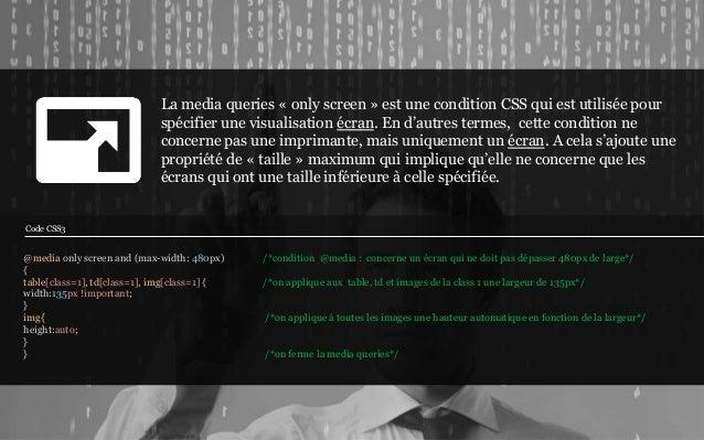 La media queries « only screen » est une condition CSS qui est utilisée pour                             spécifier une vis...